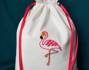 21368e08b47ff Handmade and hand embroidered flamingo drawstring bag Project bag Storage  bag Make-up bag Lingerie bag