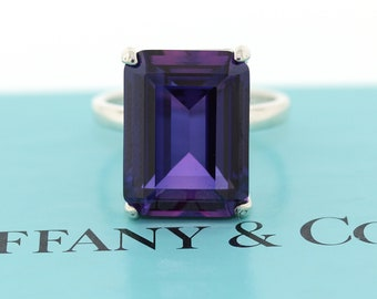 54831d637 Auth Tiffany & Co Sparklers Sterling Silver Amethyst Cocktail Ring Size 7.75