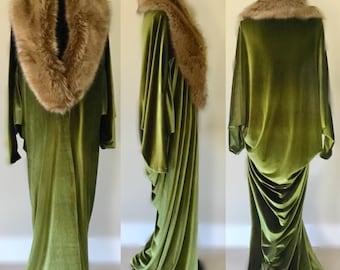 Olive Green Velvet-1920's-Old Hollywood style-velvet cocoon robe- Full length handmade robe-faux fur collar-Wedding-burlesque-gift for her