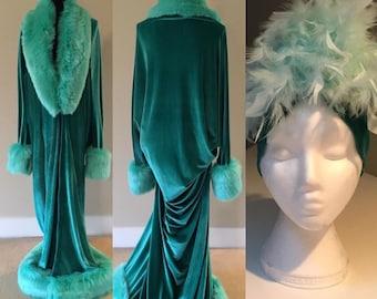 Mint Velvet 1920's-Old Hollywood style-mint green velvet- Full length robe and turban set-faux fur trim-glamour robe-gift-handmade robe