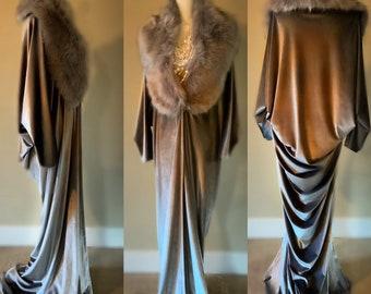Silver Velvet robe-faux fur collar-Old Hollywood-1920s -glamorous-boudoir-Burlesque-Gift-Bridal