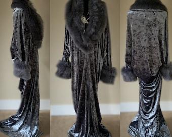 Smokey Grey-crushed velvet robe-faux fur collar-Old Hollywood robe-glamour robe-handmade luxury robe
