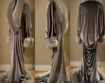 silver velvet-robe/evening coat-old Hollywood glamour robe-cocoon coat-faux fur trim-1930s