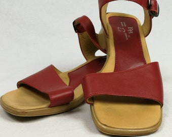 494afb25d691 Vintage Genuine Red Leather Sandals