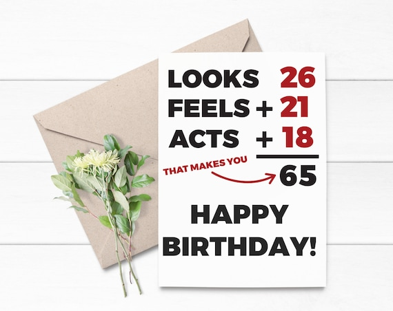 65th Birthday Card Printable Instant Download For Sixty Etsy