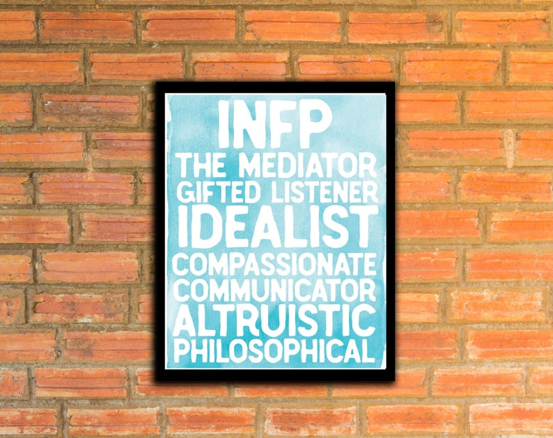 image relating to Myers Briggs Test for Students Printable identify INFP Meyers Briggs Persona Model Printable - MBTI Poster - The Mediator