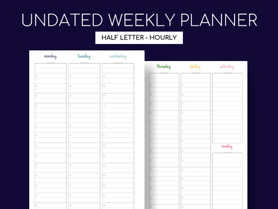 image about Weekly Hourly Planner Printable named Undated Weekly/Hourly Planner Printable