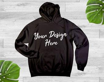 89eba9cd9 Plain BLACK Hoodie Jersey Sweatshirt Hooded Pullover Mockup Gildan 18500  Bella Canvas 3729 Mock Up JPEG Unisex Flat Lay Mens Womens