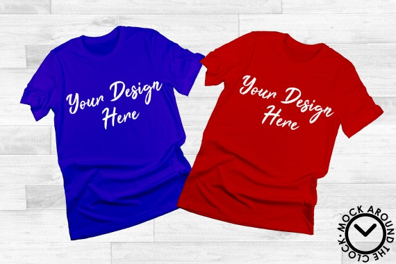 Group Blue Red T Shirts Mockup Bachelor Sports Team Party Top
