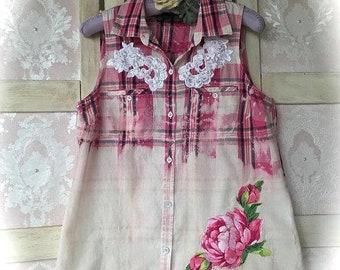 b6682ad5fa6 Soft Farmgirl Grunge Sleeveless ShirtGypsy Cowgirl Reverse Bleached Tom  Girl Darling Size XL Bust 40