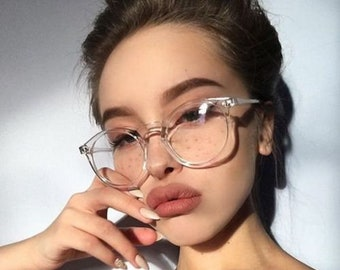 0e101f3dad Fashion Transparent round glasses clear frame Women Spectacle myopia glasses  Sexy Girl EyeGlasses Frame nerd optical frames clear