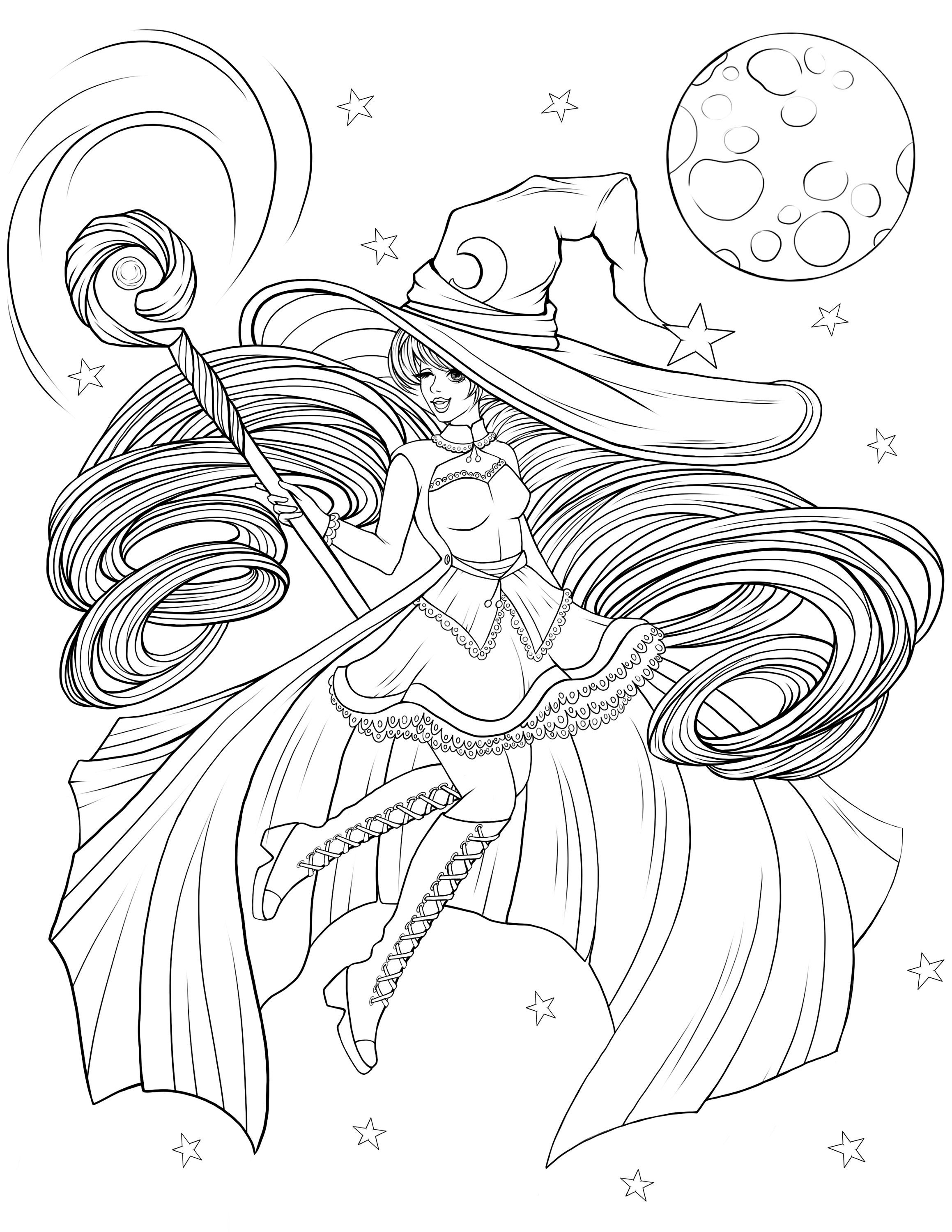 Adult Coloring Page Lady Witch Digital Coloring page ...