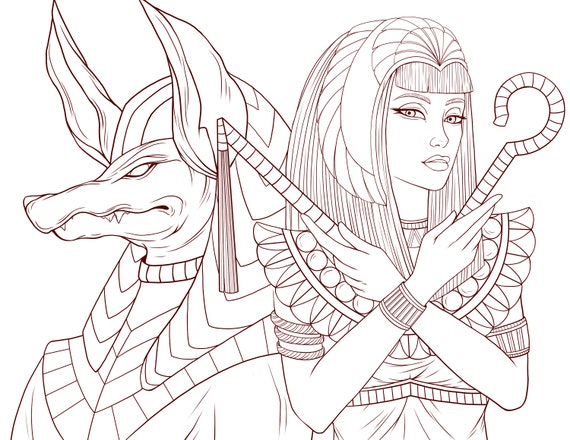 Adult Coloring Page Osiris and the Priestess of Ancient Egypt | Etsy