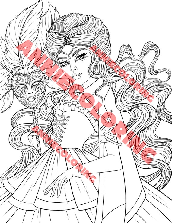 Adult Coloring Page Victorian Vampire With Carnival Mask Etsy