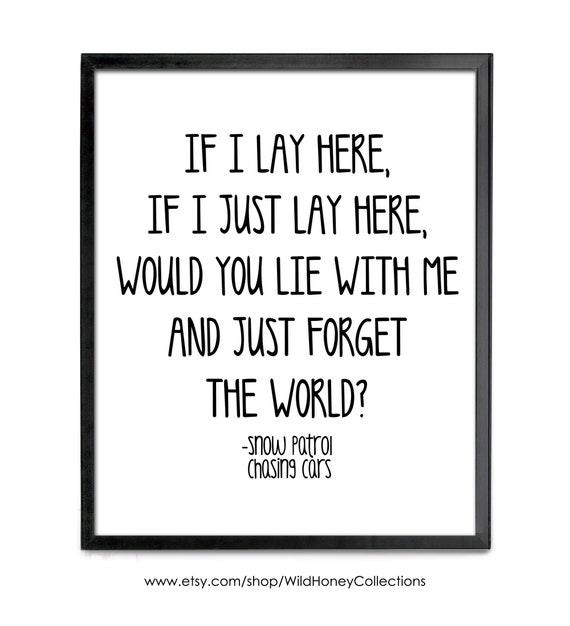 Snow Patrol Chasing CarsPoster Wall Art SONG LYRICS ART PRINTCANVAS GIFT