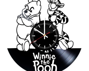 winnie pooh spaces etsy Furniture Retro 1970s Style winnie the pooh and tigra vinyl record wall clock unique gift for him and her gift for kids and adults wall decor ideas for any space