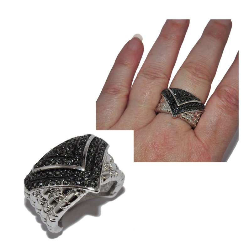 Large original ring plated silver rhodi\u00e9 black crystal T 56 jewel