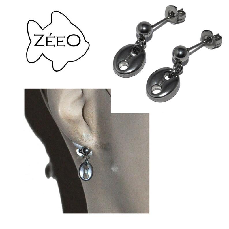 Z\u00e9eO Jewelry Silver stainless Steel Earrings Coffee Bean