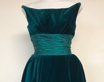 Vtg 90s FLORAL STRAPLESS TULIP Shift Draped Cocktail Party Mini Dress xS S