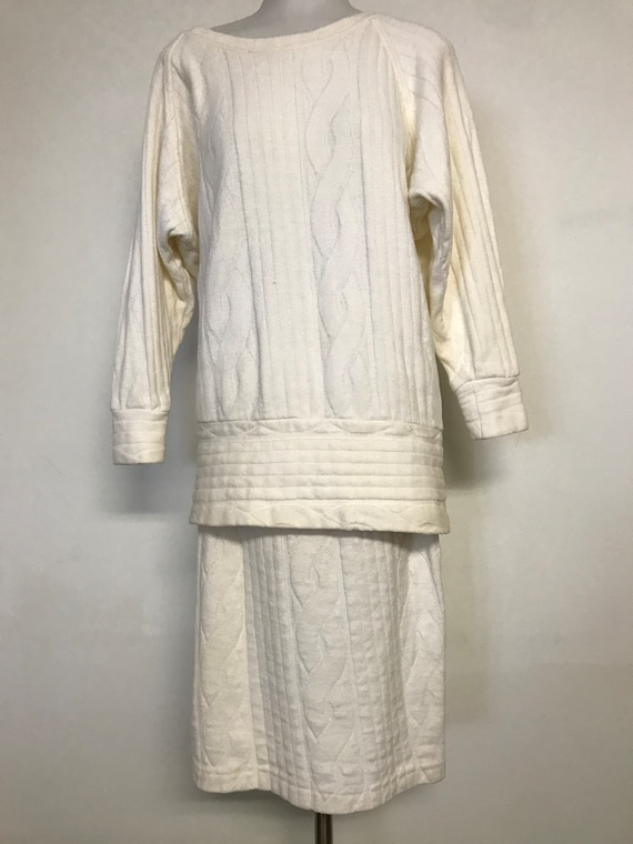 VTG 70's 80's Vintage Cream Cable Knit Oversized B