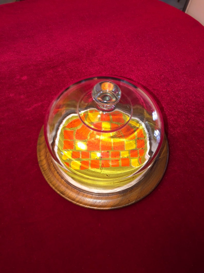 Vintage Round Wood /& Tile Cheese Tray with Glass Dome Top 8 W