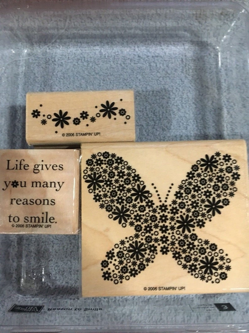 Set of 3 Vintage Stampin Up Reason to Smile Excellent Used Condition