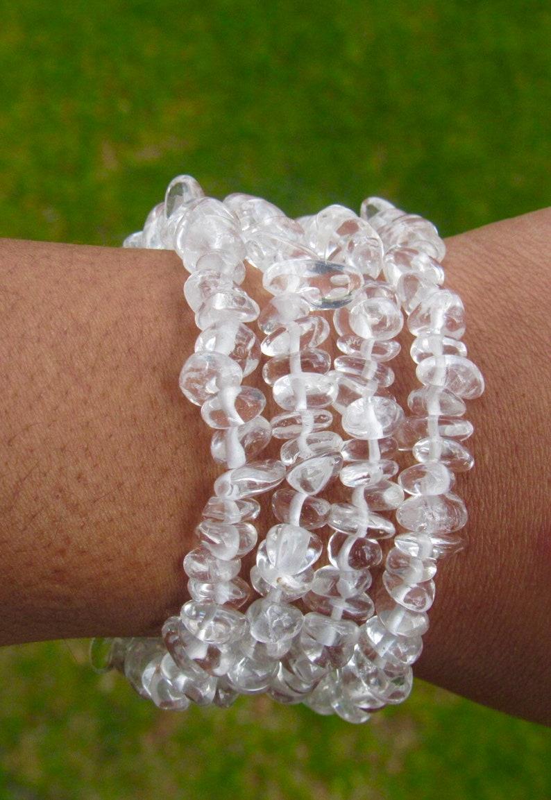 Clear Quartz Gemstone Bracelet Mediation Bracelet Yoga Bracelet Mala Women/'s Bracelet Men/'s Bracelet