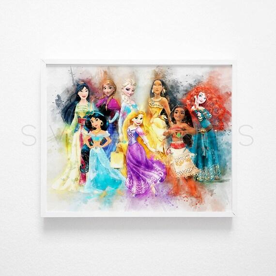 Disney Prinzessin Wandbehang Prinzessin Druck Prinzessinnen Etsy