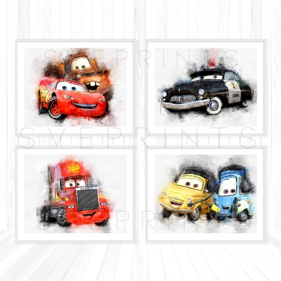 MATER Disney Pixar Cars WATERCOLOUR  Picture Birthday Gift  A4
