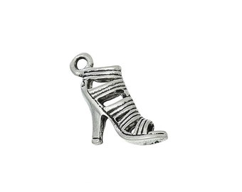 High Heel Shoe Charm//Pendant Tibetan Antique Silver 21mm  10 Charms Accessory