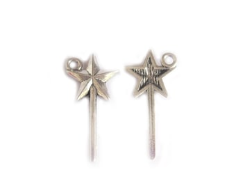 10 Fairy Wand Charms Harry Potter Silver Tone Metal 25mm
