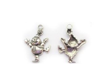 10 x Tibetan Silver SNOWMAN HAPPY DANCING CHRISTMAS 30mm Charms Pendants Beads