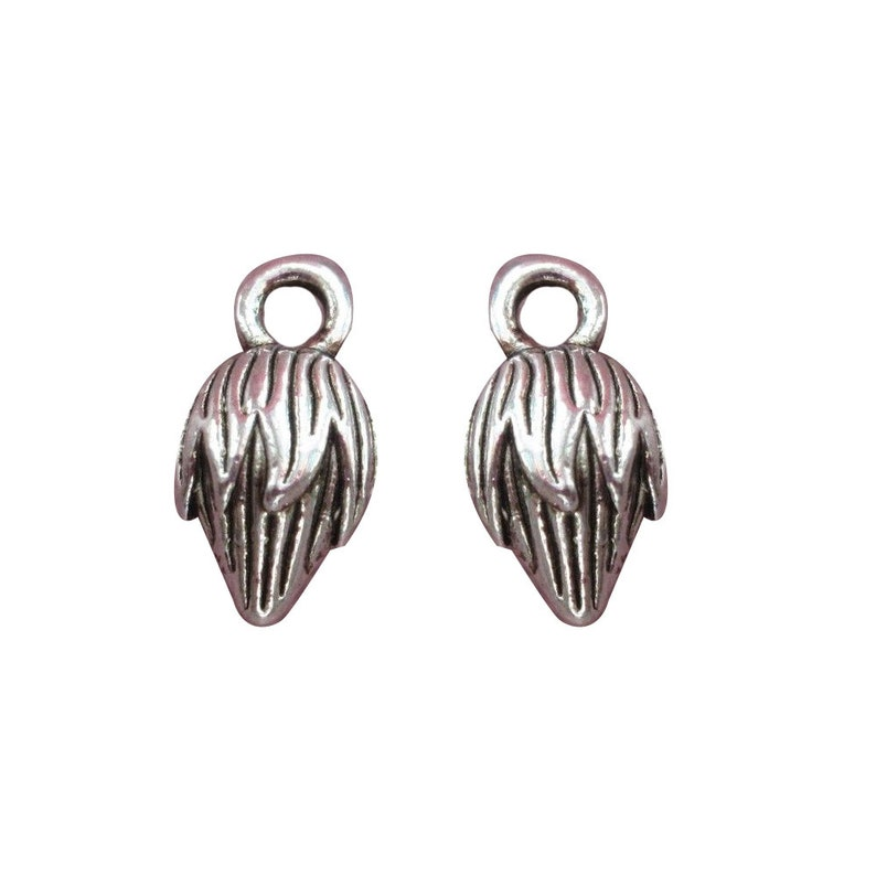 Lead /& Nickel Free Metal Charms Pendants Beads 10 Pcs Tibetan Silver Flower Bud 13X8mm 3D Charms Pendants Beads