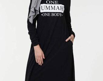 Urban Lipi Muslim Women Black Abaya Kaftan Jilbab Islamic Arab Maxi Jersey  Pockets Size L 56 4e463c849