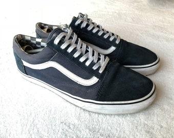 05be2918e7a98c Vans Old Skool 12US 46EU 11UK Blue White Checkerboard Skateboarding  Gumshoes Sneakers USED
