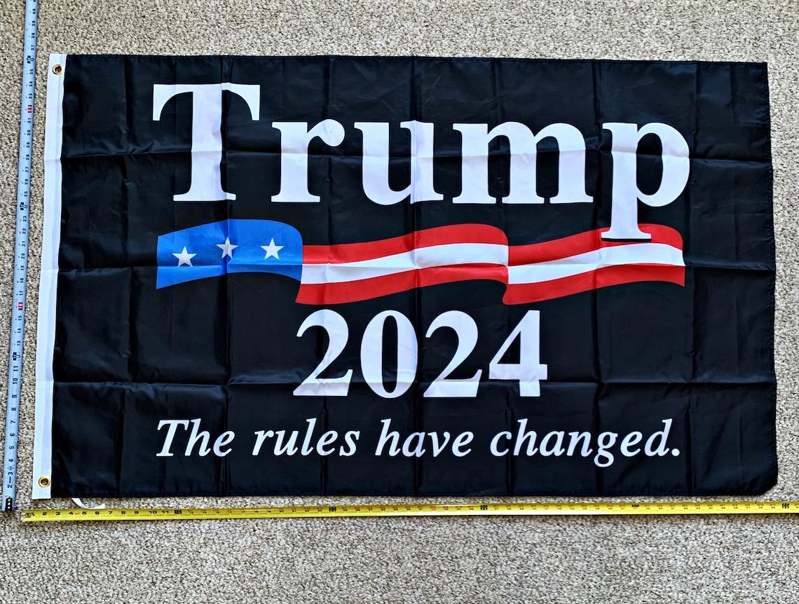 Donald Trump Flag FREE SHIPPING Don Jr 2024 Black Zag USA Sign image 0