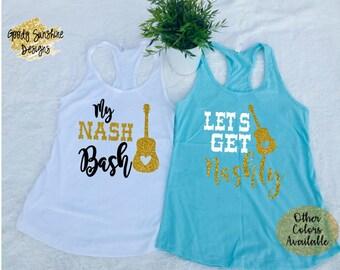 Nashy Bride Nashy Bitches Slouchy Tanks Bachelorette Party Shirts Nashelorette Party Nash Bash Tanks Let/'s Get Nashy Slouchy Tank