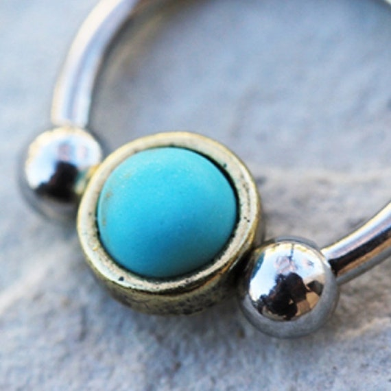 Covet Jewelry Golden Egyptian Synthetic Turquoise Steel Captive Bead Ring