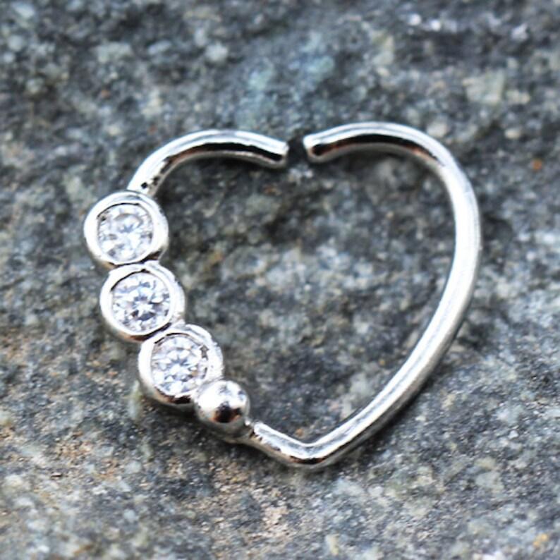 DyaniJewel Stainless Steel Heart Annealed Triple CZ Cartilage Earring