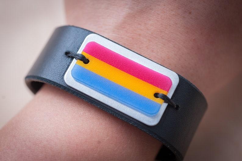 Pansexual flag leather snap bracelet