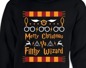 f13472ef7 Merry Christmas Ya Filthy Wizard Funny Ugly Christmas Sweater Movie Sweater  Gift for Wizard Fan Movie Shirt, Potter Shirt Gift for Potter