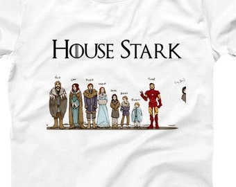 75028c0288 House Stark T-shirt American Apparel Tee Iron Super Hero Funny GOT Jon Snow  Shirts Comic Christmas Xmas Gifts for Tv Show Fan