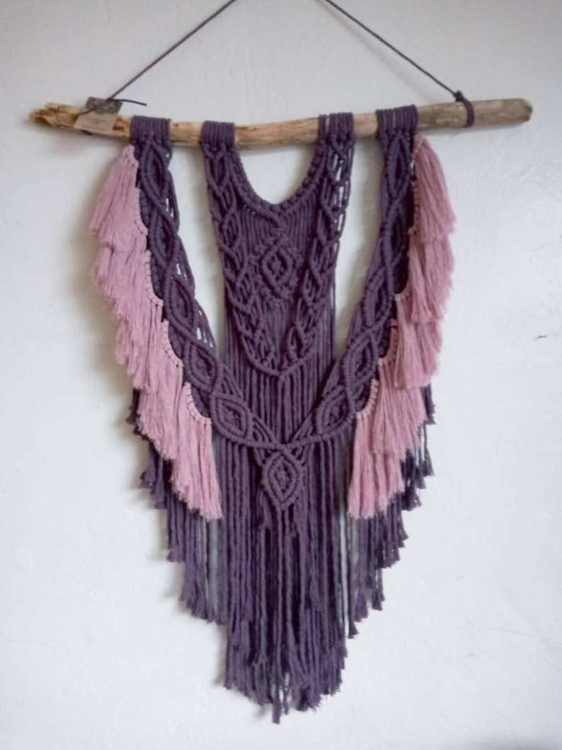 Plum and Dusty Rose Macrame Wall Hanging