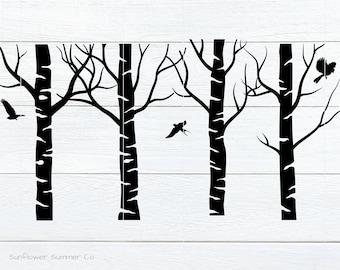 Birch tree SVG- bird svg- birch svg - tree stencil - tree laser cut file - tree vector- forest svg