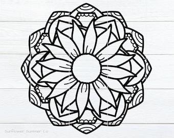 Flower Mandala SVG- floral mandala svg - mandala for cricut - flower svg - mandala clipart- sunflower mandala