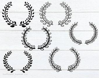 Laurel SVG, Laurel Wreath svg, monogram frame svg, leaves svg, leaf wreath svg
