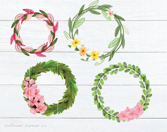 Watercolor wreath clipart- floral wreath - leaves wreath clipart - digital wreath