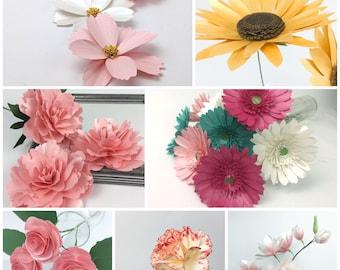 Bundle of 7 paper flower templates svg - rose- carnation- gerbera daisy- cosmos- peony- sunflower- magnolia- cricut flowers