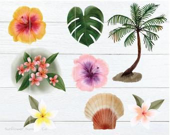 Tropical Clipart- Beach clipart - watercolor clipart- hibiscus clipart- palm tree clipart- Hawaiian clipart