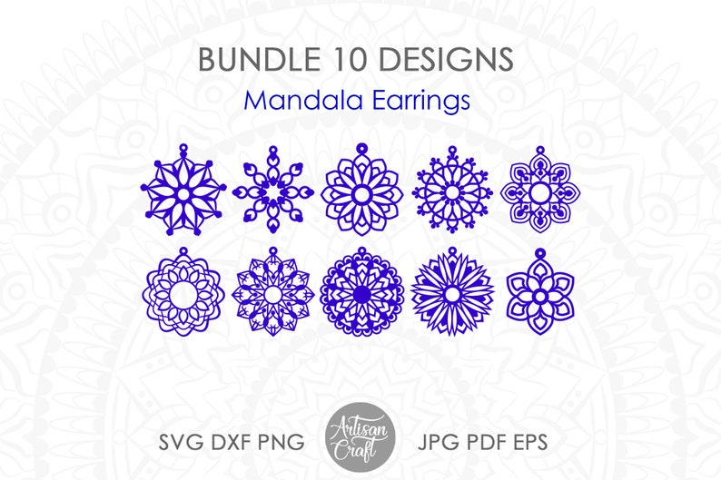 Mandala Earrings SVG  laser cut files Earring cut files image 1